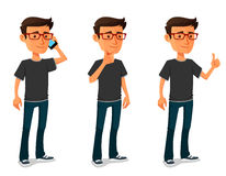 Cartoon guy in various poses Stock Photo
