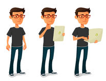 Free Cartoon Guy With Tablet And Notebook Royalty Free Stock Photo - 54291935