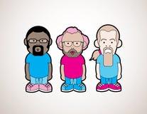 Cartoon Guys. Three unique cartoon figures Stock Photo