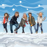 Cartoon guys and girls playing snowballs in winter Stock Photography