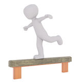 Cartoon Gymnast Competing in Balance Beam Event Stock Images