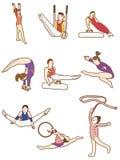 Cartoon Gymnast icon. Vector drawing Stock Image