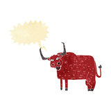 Cartoon hairy cow with speech bubble Stock Images