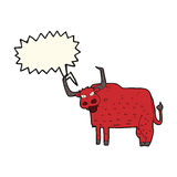 cartoon hairy cow with speech bubble Royalty Free Stock Photo