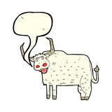 Cartoon hairy cow with speech bubble Royalty Free Stock Image