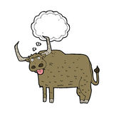 Cartoon hairy cow with thought bubble Royalty Free Stock Image