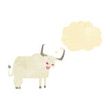 Cartoon hairy cow with thought bubble Royalty Free Stock Images