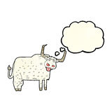 Cartoon hairy cow with thought bubble Royalty Free Stock Photography