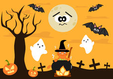 Cartoon halloween background for kids Stock Images