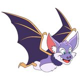 Cartoon halloween bat. Cute and happy cartoon halloween bat, isolated on white background. Childish vector illustration and colorful book page for kids Stock Image