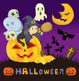 Cartoon Halloween card Royalty Free Stock Images