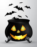 Cartoon Halloween cauldron Stock Photography