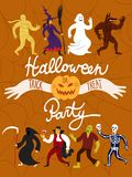 Cartoon halloween characters. Royalty Free Stock Images
