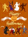 Cartoon halloween characters. Poster with funny halloween cartoon characters. Editable vector format Stock Image