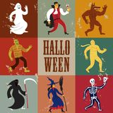 Cartoon halloween characters. Set of funny halloween cartoon characters. Editable vector format Stock Images