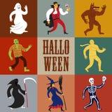 Cartoon halloween characters. Set of funny halloween cartoon characters. Editable vector format Stock Photography