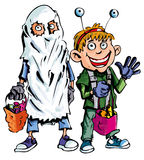 Cartoon of halloween children Stock Photos