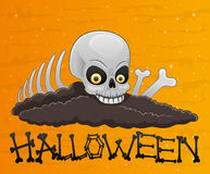 Cartoon halloween cranium. Royalty Free Stock Image