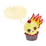 cartoon halloween cup cake with speech bubble Royalty Free Stock Photo