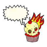 cartoon halloween cup cake with speech bubble Royalty Free Stock Image