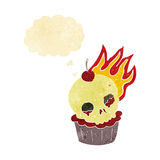 cartoon halloween cup cake with thought bubble Stock Images