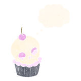 cartoon halloween cup cake with thought bubble Stock Image