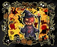 Cartoon halloween frame illustration decorated with diverse evil bizarre creatures Stock Photography