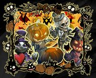 Cartoon halloween frame illustration decorated with diverse evil bizarre creatures. And scary сharacters, monsters, imps, evil mascots royalty free illustration