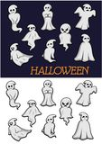 Cartoon Halloween ghosts. Different cartoon Halloween ghosts in flowing robes on a white and dark background in different poses with different expressions Stock Images