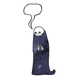 Cartoon halloween ghoul with speech bubble Royalty Free Stock Images