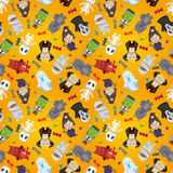 Cartoon Halloween holiday monster seamless pattern Stock Images