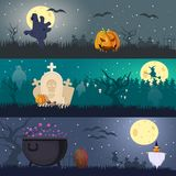Cartoon Halloween Horizontal Banners Stock Photo
