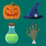 Cartoon Halloween icon set.  Stock Photo