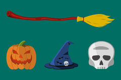 Cartoon Halloween icon set.   Stock Photography
