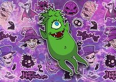 Cartoon halloween illustration set of diverse evil bizarre creatures and characters. Vampires, zombies, monsters, imps, evil mascots Royalty Free Stock Photos