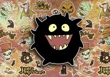 Cartoon halloween illustration set of diverse evil bizarre creatures and characters. Vampires, zombies, monsters, imps, evil mascots Stock Photo