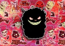 Cartoon halloween illustration set of diverse evil bizarre creatures and characters. Vampires, zombies, monsters, imps, evil mascots Stock Images