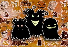 Cartoon halloween illustration set of diverse evil bizarre creatures and characters. Vampires, zombies, monsters, imps, evil mascots Royalty Free Stock Photo