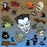 Cartoon halloween illustration set of diverse evil bizarre creatures and characters. Vampires, zombies, monsters, imps, evil mascots royalty free illustration