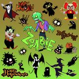 Cartoon halloween illustration set of diverse evil bizarre creatures and characters. Vampires, zombies, monsters, imps Royalty Free Stock Photography