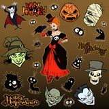 Cartoon halloween illustration set of diverse evil bizarre creatures and characters. Vampires, zombies, monsters, imps, evil mascots stock illustration