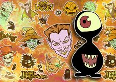 Cartoon halloween illustration set of diverse evil bizarre creatures and characters. Vampires, zombies, monsters, imps, evil mascots Stock Photography