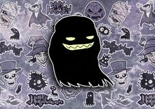 Cartoon halloween illustration set of diverse evil bizarre creatures and characters. Vampires, zombies, monsters, imps, evil mascots Stock Image