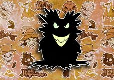 Cartoon halloween illustration set of diverse evil bizarre creatures and characters. Vampires, zombies, monsters, imps, evil mascots Royalty Free Stock Images