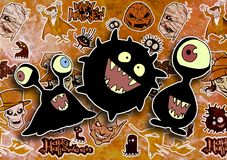 Cartoon halloween illustration set of diverse evil bizarre creatures and characters. Vampires, zombies, monsters, imps, evil mascots Royalty Free Stock Image