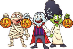Cartoon Halloween kids. Trick or treating. Vector illustration with simple gradients. Each in a separate layer for easy editing Royalty Free Stock Photo