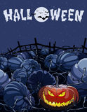 Cartoon halloween night in a field with pumpkins. Cartoon halloween night in field with pumpkins Stock Image