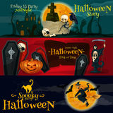 Cartoon Halloween party banners and posters. Cartoon Halloween party vector banners and posters with greeting and ivitation text. Friday 13 gravestone, Horror Royalty Free Illustration
