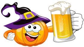 Cartoon halloween pumpkin beer Stock Image