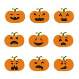 Halloween pumpkin icons. Cartoon halloween pumpkin icons. Vector illustration Stock Image